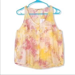 🌼YFB pink and yellow tie dyed crop tank top